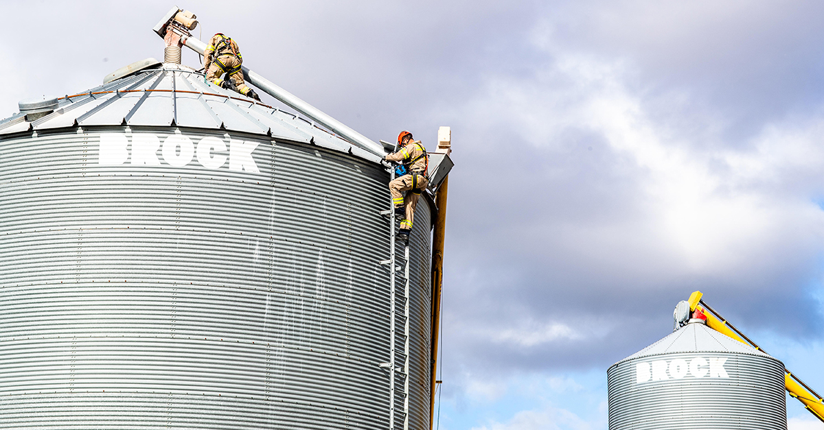 top of two grain bins